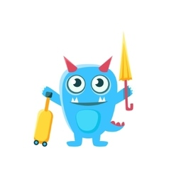 Tourist blue monster with horns and spiky tail vector