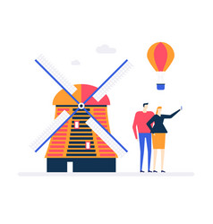 travel to netherlands - colorful flat design style vector image