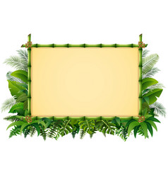 tropical floral design background with green bambo vector image