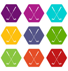 two golf clubs icon set color hexahedron vector image