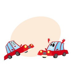 two red car characters one dismayed and despaired vector image