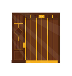 vintage brown elevator with closed door old lift vector image