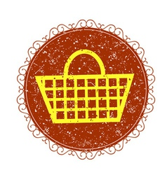 Vintage sign with Shopping basket vector