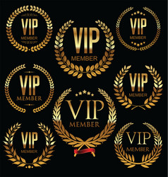 Vip member golden laurel wreath collection vector