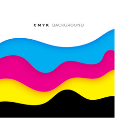 Wave style cmyk flowing colors background vector