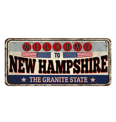 welcome to new hampshire vintage rusty metal sign vector image