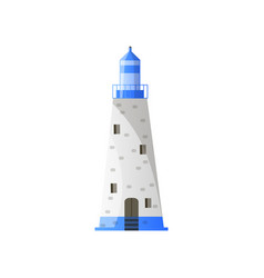 White conic lighthouse with shadow blue roof and vector