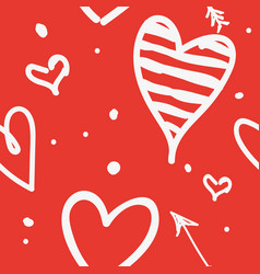white draw heart on red background use how vector image