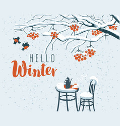 Winter street cafe under rowan tree with lettering vector