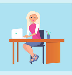 Woman typing on laptop sitting at table vector