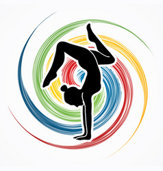 woman yoga action sport woman pose vector image