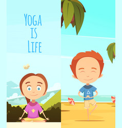 Yoga is life two vertical banners vector