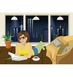 young woman reading book at home vector image