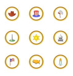 American dream icons set cartoon style vector