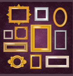frames blank picture framing in vintage set vector image