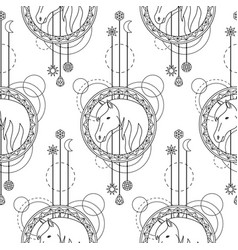 geometric horse seamless pattern vector image vector image
