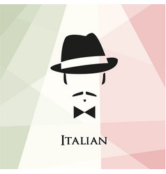 italian with a mustache and bow tie vector image