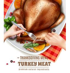 realistic turkey hands composition vector image