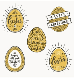 Set of eggs with Easter greeting type design vector image vector image