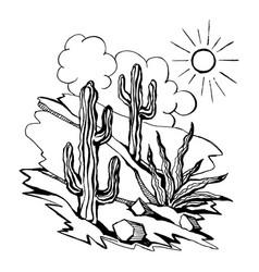 sketch of outline drawing landsca vector image vector image