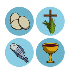 holy week round icons vector image