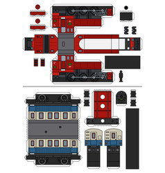 paper model of a vintage train vector image
