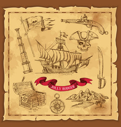 pirate elements hand drawn concept vector image vector image