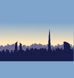 Silhouette of dubai city beauty scenery vector