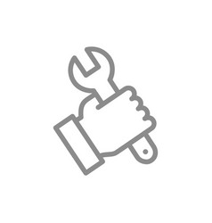 simple wrench spanner in hand line icon symbol vector image