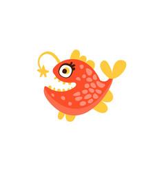 angler fish funny sea creature hand drawn vector image