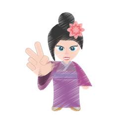 Drawing cute girl chinese kimono sakura flower vector