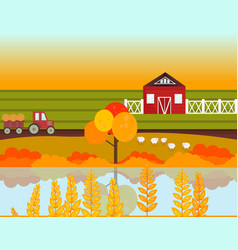 Farm village autumn season with lake background vector