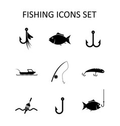 fishing icons set silhouette vector image
