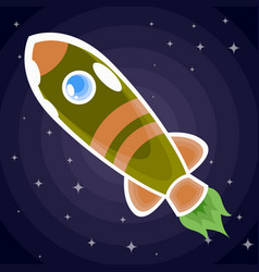 green with brown stripes a space rocket with a vector image