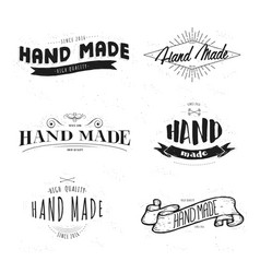 handmade label lettering set vector image vector image