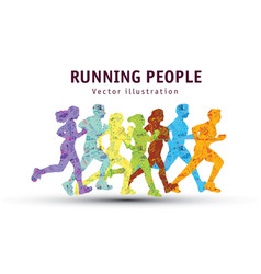 people run sport marathon color silhouette vector image vector image