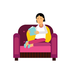 young woman sitting on a purple armchair and vector image