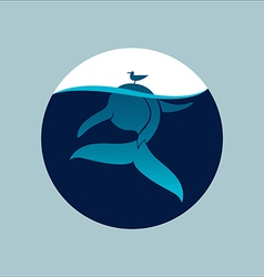 Blue whale with seagull underwater sign emblem vector image vector image