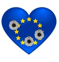 Bullet holes in heart of European Union flag vector image vector image