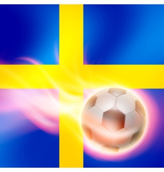 Burning football on Sweden flag background vector image vector image
