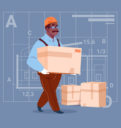 cartoon african american builder carry box wearing vector image