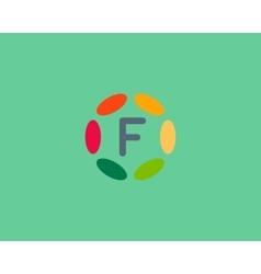Color letter F logo icon design Hub frame vector image vector image
