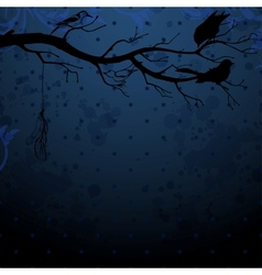 Dark blue background with tree branch and birds vector image