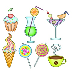 dessert and drink vector image vector image