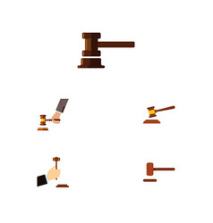 Flat icon court set of hammer defense government vector