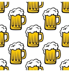 Fresh beer tankard seamless pattern vector image