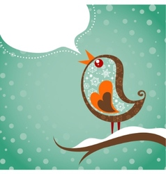 retro christmas background with bird vector image