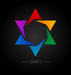 Abstract design element rainbow star on black vector image