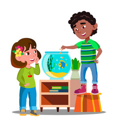 Afro american boy and white girl whatch and feed vector