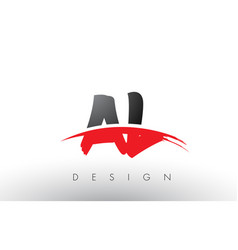 al a l brush logo letters with red and black vector image